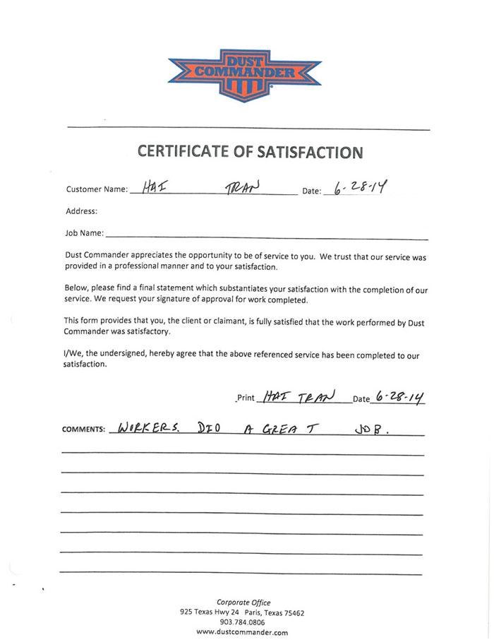a jpg scan of the handwritten testimonial from the customer