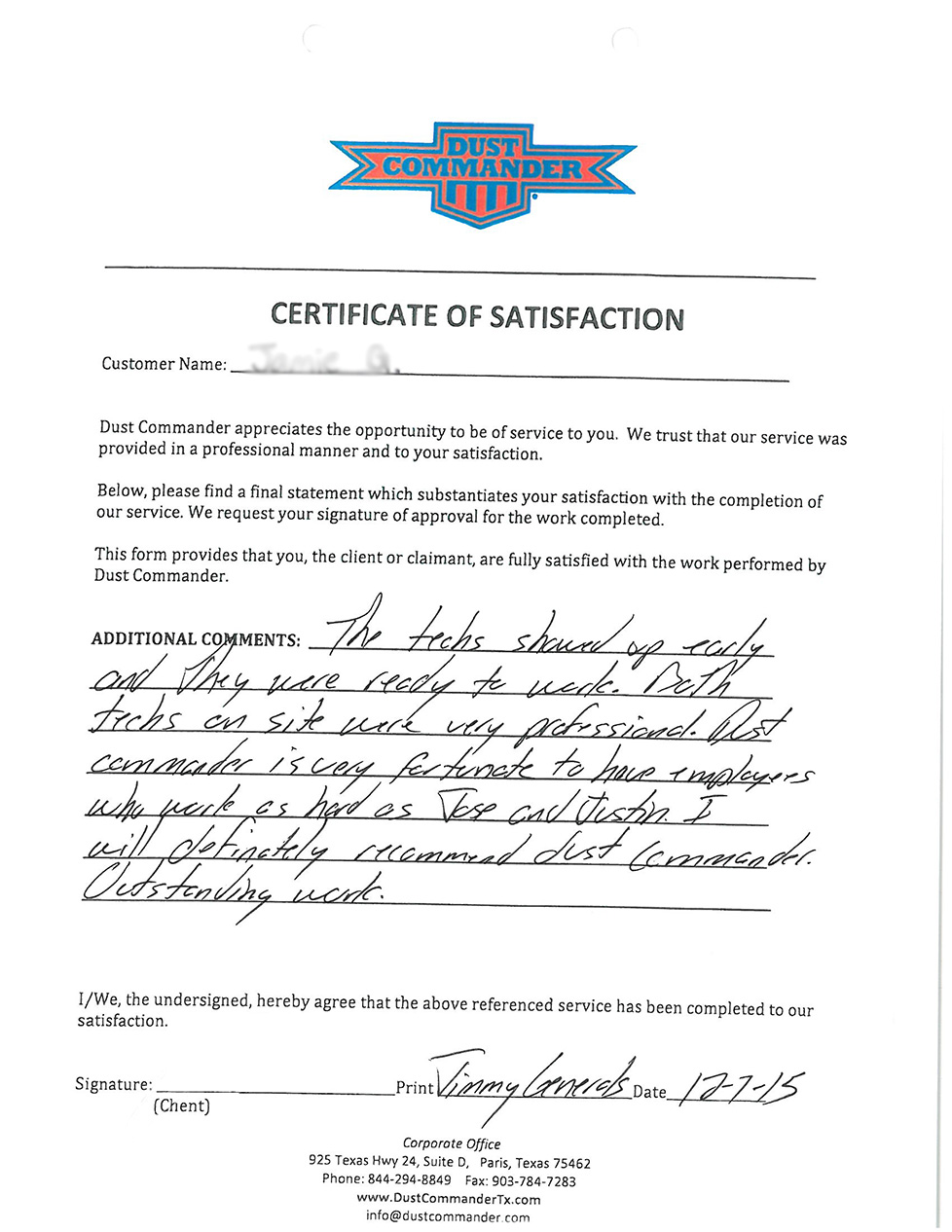 Tile Removal Testimonial by Jamie in Sherman, Tx
