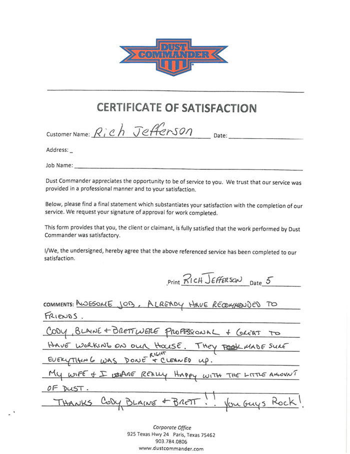 a PDF scan of the handwritten testimonial from the customer